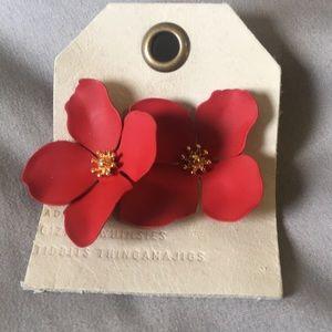 Anthropologie Red Flower Stud Earrings